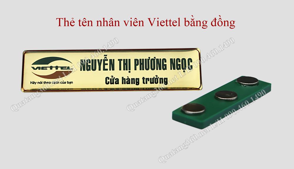Thẻ nhân viên Viettel bằng đồng