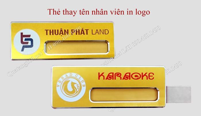 Thẻ thay tên nhân viên in logo