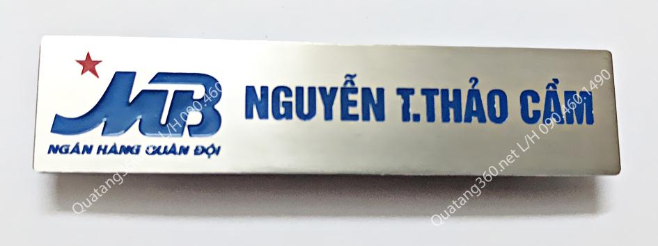 Thẻ tên nhân viên inox bạc mb bank